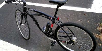 Back View of the hot rod cruiser bicycle. With vertical bottle cage, normally to hold beer.