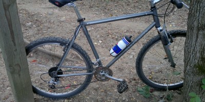 1996 Gary Fisher Hoo Koo E Koo with SLX and Rock Shox, improved with steel spiked aluminum BMX pedals, new headset, cassette/chain, shifters, and good tires.