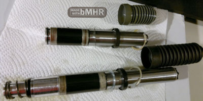photo of Here is the whole guts assembly with boots - bushings seals springs inside bicycles air shocks mechanicals Specialized Rock Shox FSX -- bMHR