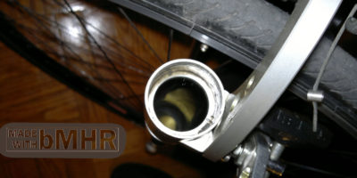 phot of A nice view down inside the inner workings of Rock Shox FSX air spring oil leg tube -- bMHR